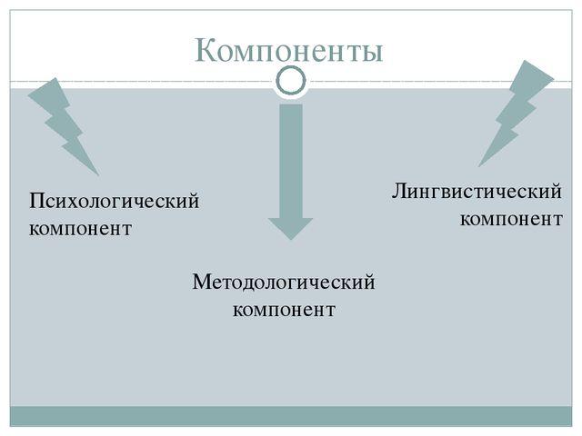 Компоненты Методологический компонент Лингвистический компонент Психологическ...