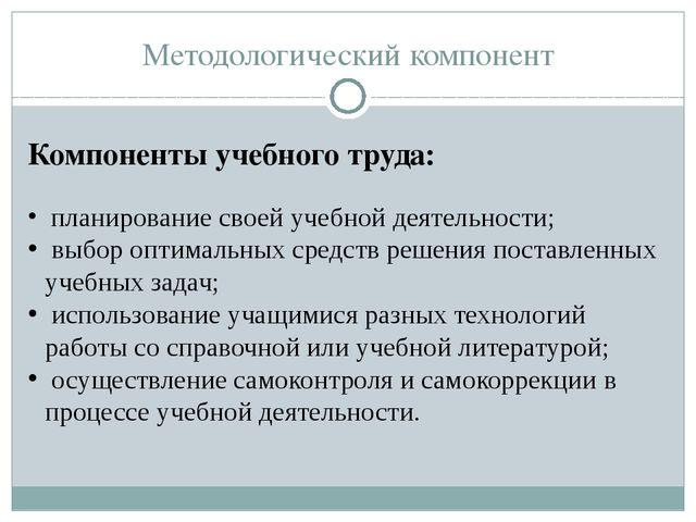 Методологический компонент Компоненты учебного труда: планирование своей учеб...