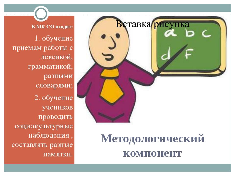 Методологический компонент В МК СО входит: 1. обучение приемам работы с лекси...