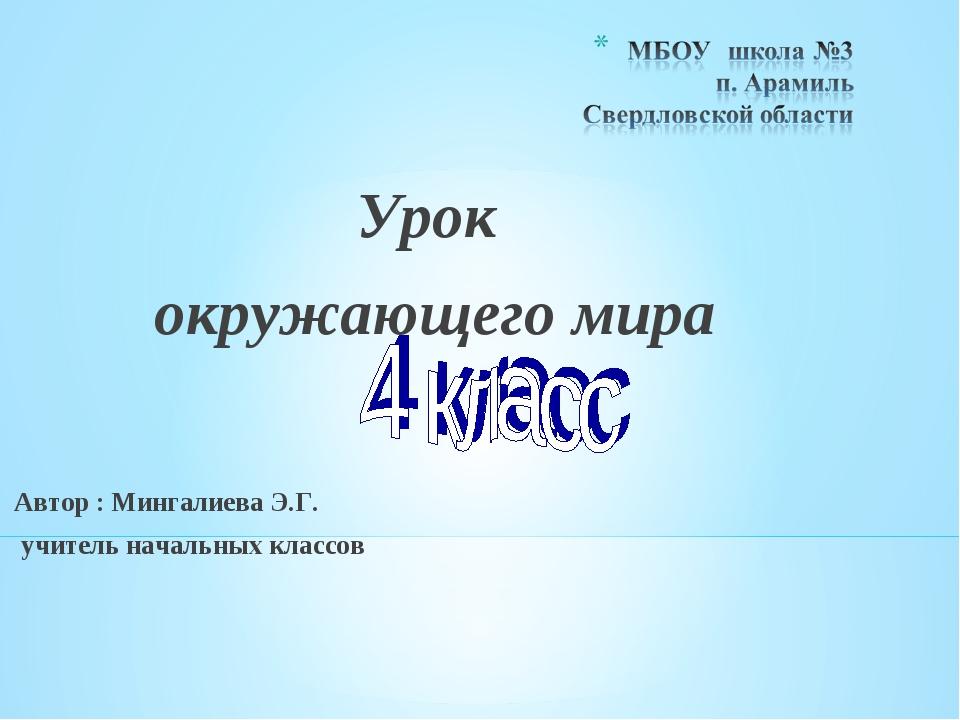 Урок окружающего мира Автор : Мингалиева Э.Г. учитель начальных классов