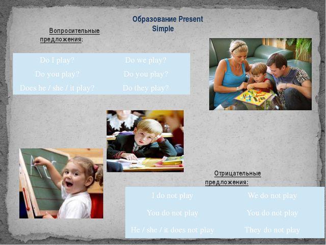 Образование Present Simple Вопросительные предложения: Отрицательные предложе...