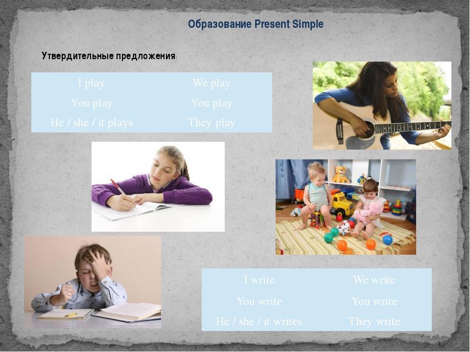 Образование Present Simple Утвердительные предложения: I play We play You pla...