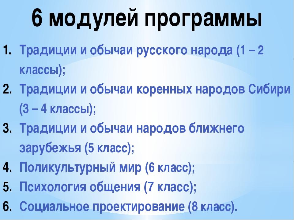 6 модулей программы Традиции и обычаи русского народа (1 – 2 классы); Традици...
