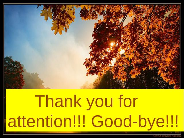Thank you for attention!!! Good-bye!!!