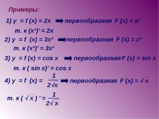 Примеры: 1) y = f (x) = 2x первообразная F (x) = x² т. к (x²)' = 2x 2) y = f