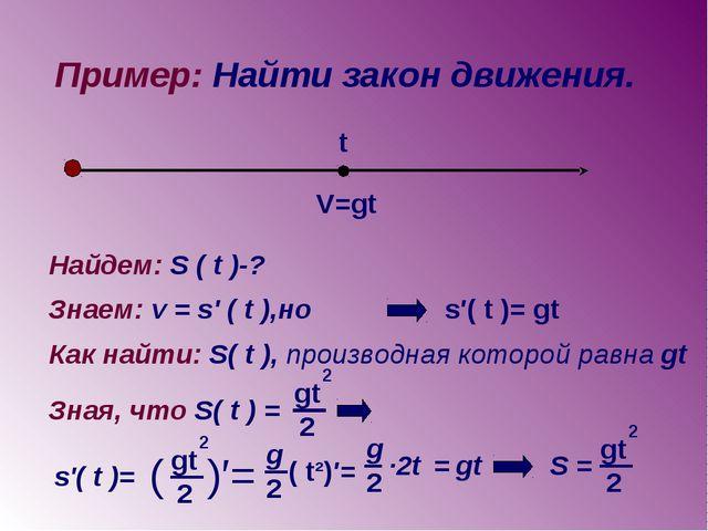 Пример: Найти закон движения. V=gt t Найдем: S ( t )-? Знаем: v = s' ( t ),но...