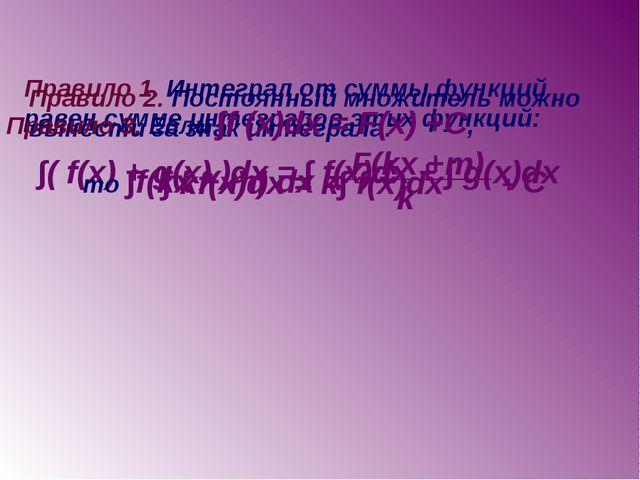 Правило 1. Интеграл от суммы функций равен сумме интегралов этих функций: ∫(...