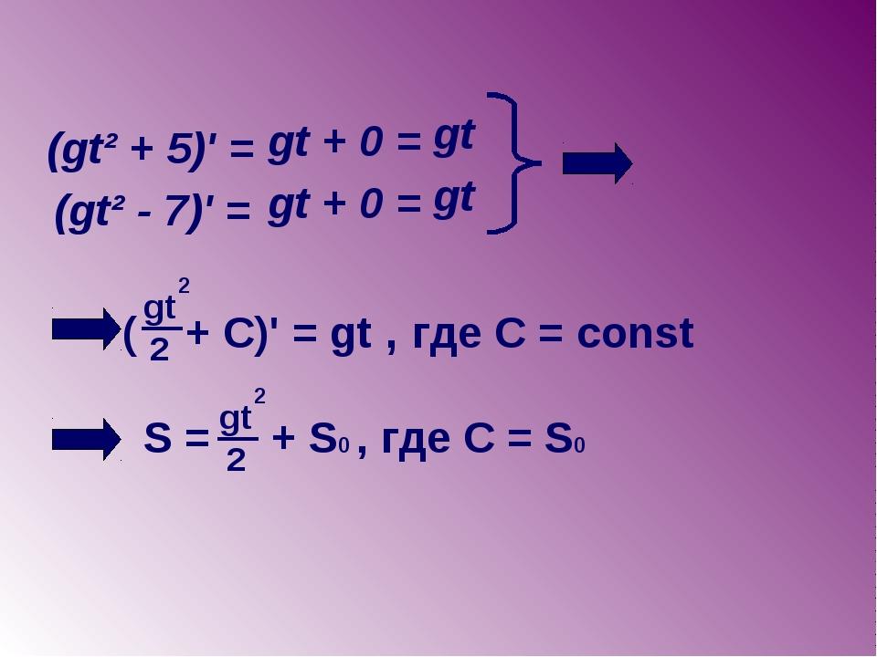 (gt² + 5)' = gt + 0 = gt (gt² - 7)' = gt + 0 = gt