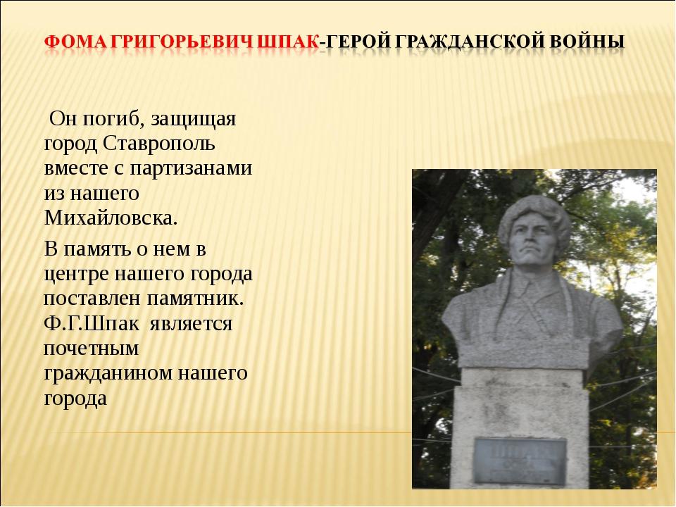 Он погиб, защищая город Ставрополь вместе с партизанами из нашего Михайловск...