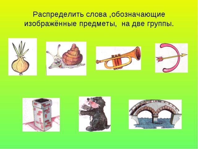 Распределить слова ,обозначающие изображённые предметы, на две группы.