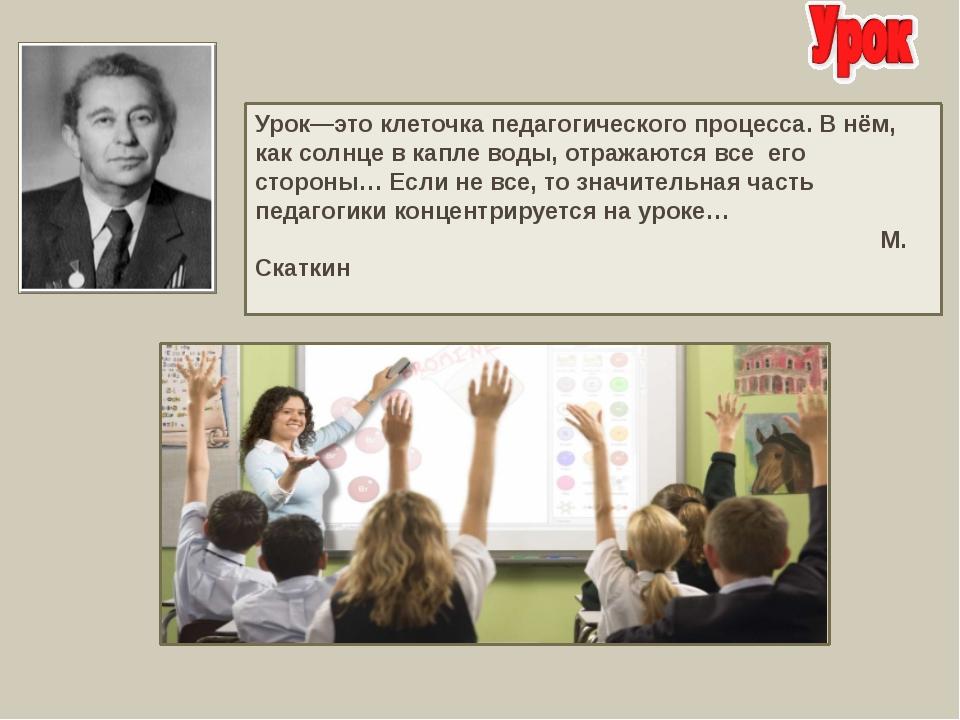 Урок—это клеточка педагогического процесса. В нём, как солнце в капле воды, о...