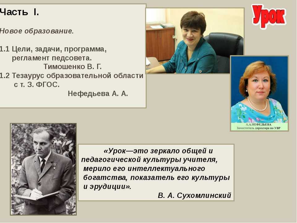 Часть I. Новое образование. 1.1 Цели, задачи, программа, регламент педсовета....