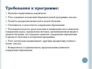 Требования к программе: 1. Наличие нормативных документов 2. Учет основных по