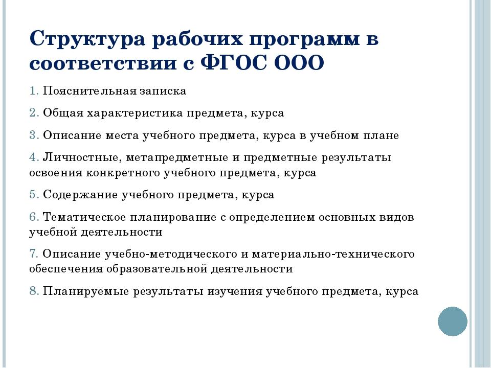 Структура рабочих программ в соответствии с ФГОС ООО 1. Пояснительная записка...