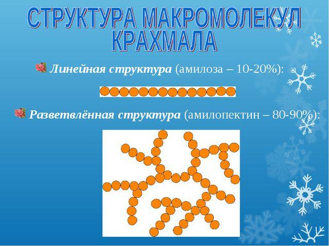 Линейная структура (амилоза – 10-20%): Разветвлённая структура (амилопектин...