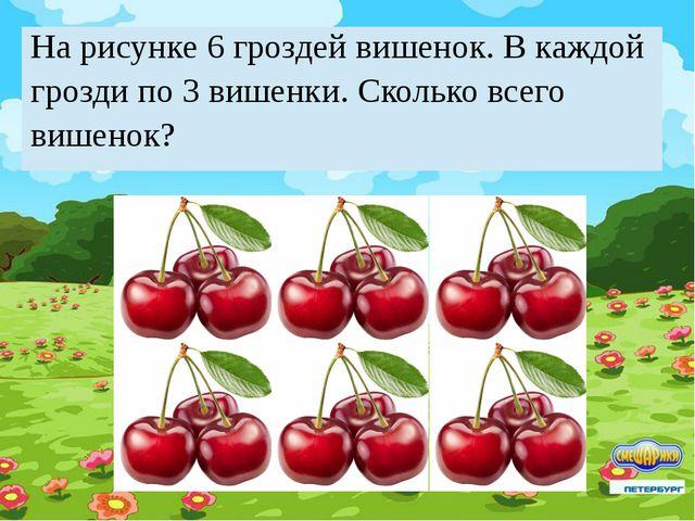 На рисунке 6 гроздей вишенок. В каждой грозди по 3 вишенки. Сколько всего виш...