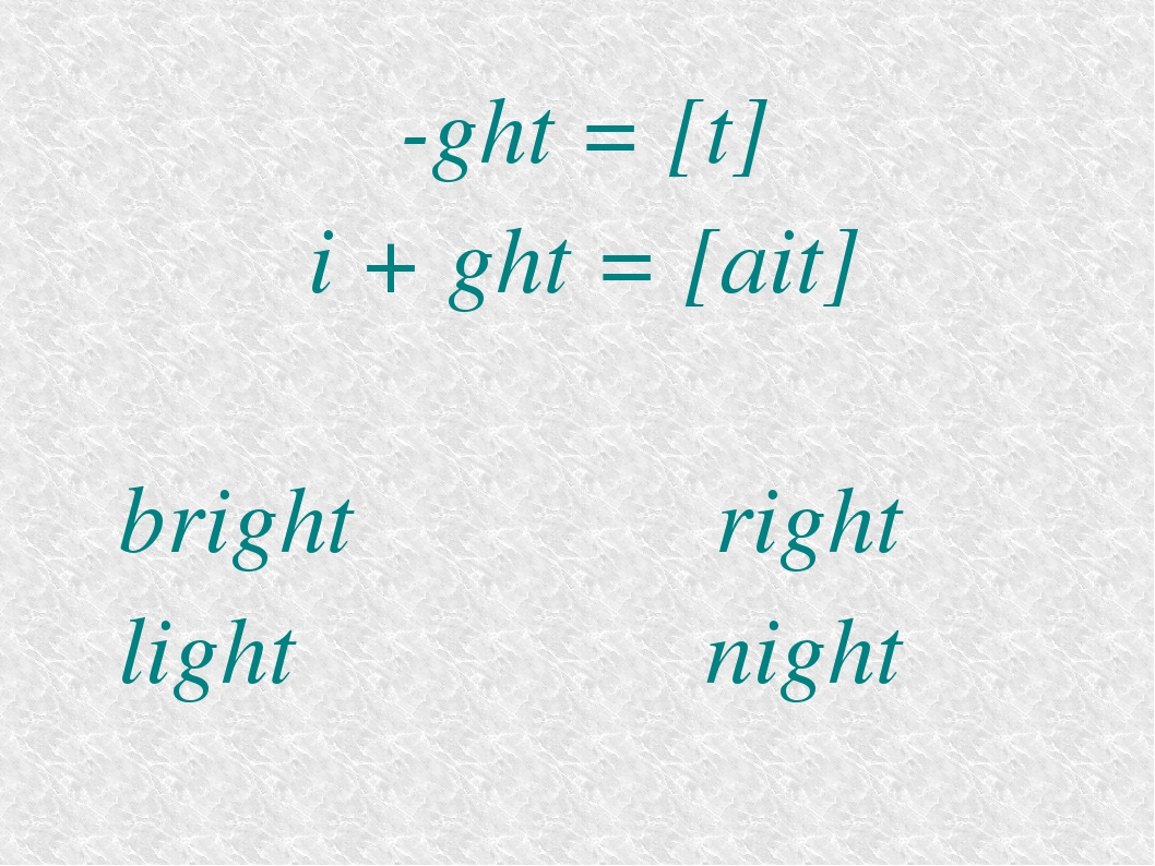 -ght = [t] i + ght = [ait] bright right light night