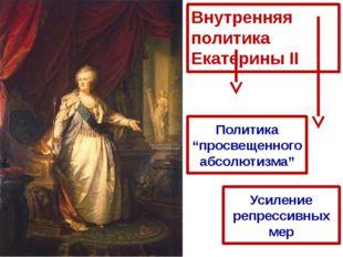 """Внутренняя политика Екатерины II Политика """"просвещенного абсолютизма"""" Усилени"""