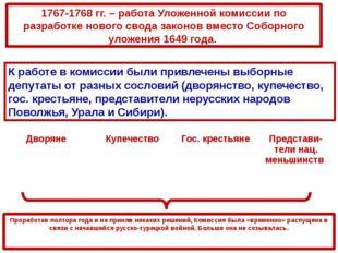 1767-1768 гг. – работа Уложенной комиссии по разработке нового свода законов