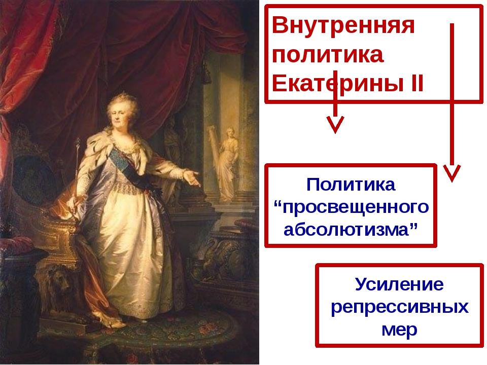 """Внутренняя политика Екатерины II Политика """"просвещенного абсолютизма"""" Усилени..."""