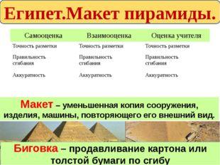 Египет.Макет пирамиды. Макет – уменьшенная копия сооружения, изделия, машины