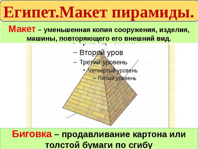 Макет – уменьшенная копия сооружения, изделия, машины, повторяющего его внешн...
