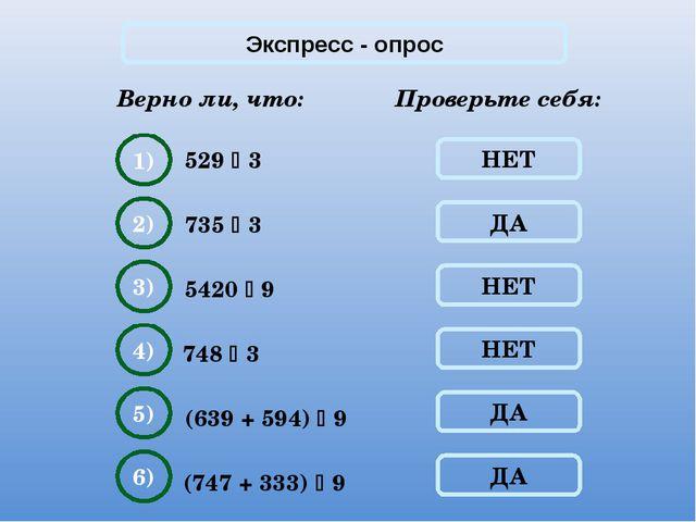 Экспресс - опрос Верно ли, что: 529  3 Проверьте себя: НЕТ 1) ДА 2) НЕТ 3) Н...