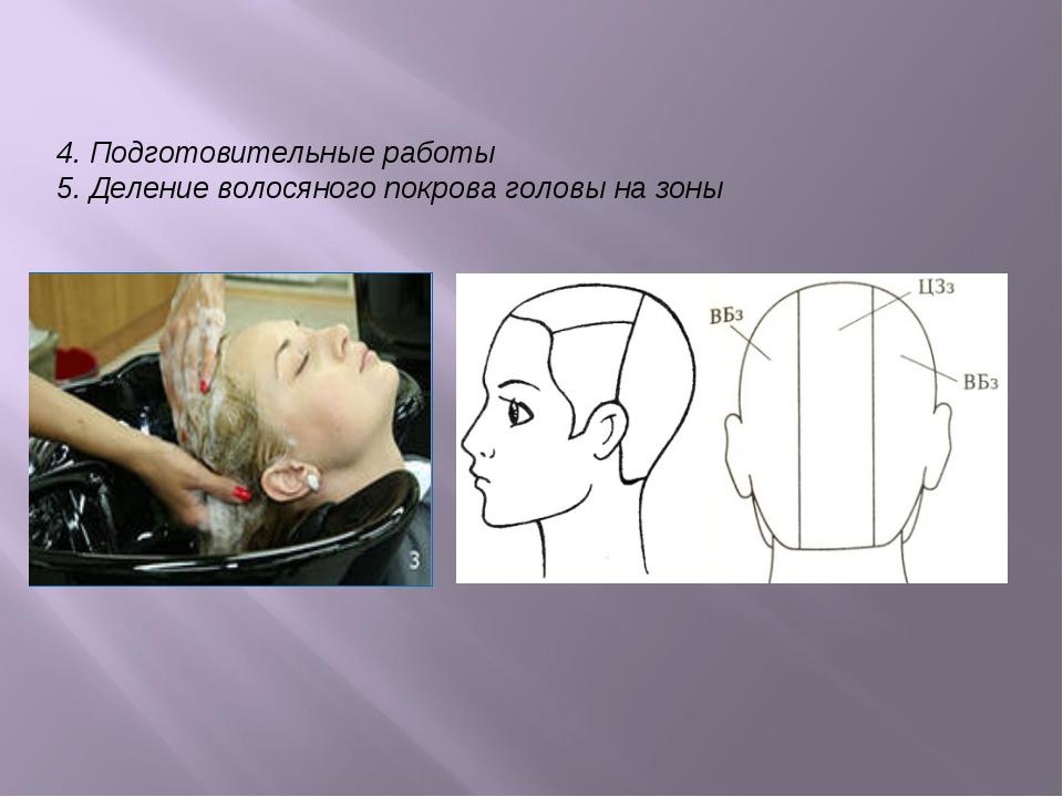 4. Подготовительные работы 5. Деление волосяного покрова головы на зоны