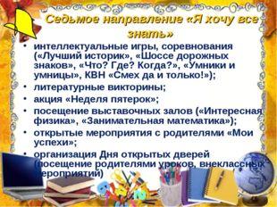 Седьмое направление «Я хочу все знать» интеллектуальные игры, соревнования («