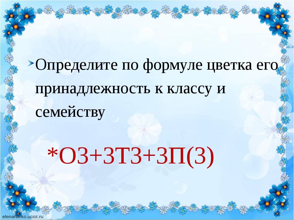 Определите по формуле цветка его принадлежность к классу и семейству *О3+3Т3...