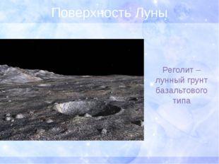 Поверхность Луны Реголит – лунный грунт базальтового типа