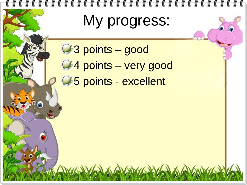 My progress: 3 points – good 4 points – very good 5 points - excellent
