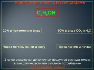 ВЫВЕДЕНИЕ СПИРТА ИЗ ОРГАНИЗМА С2Н5ОН 10% в неизменном виде 90% в виде СО2 и Н