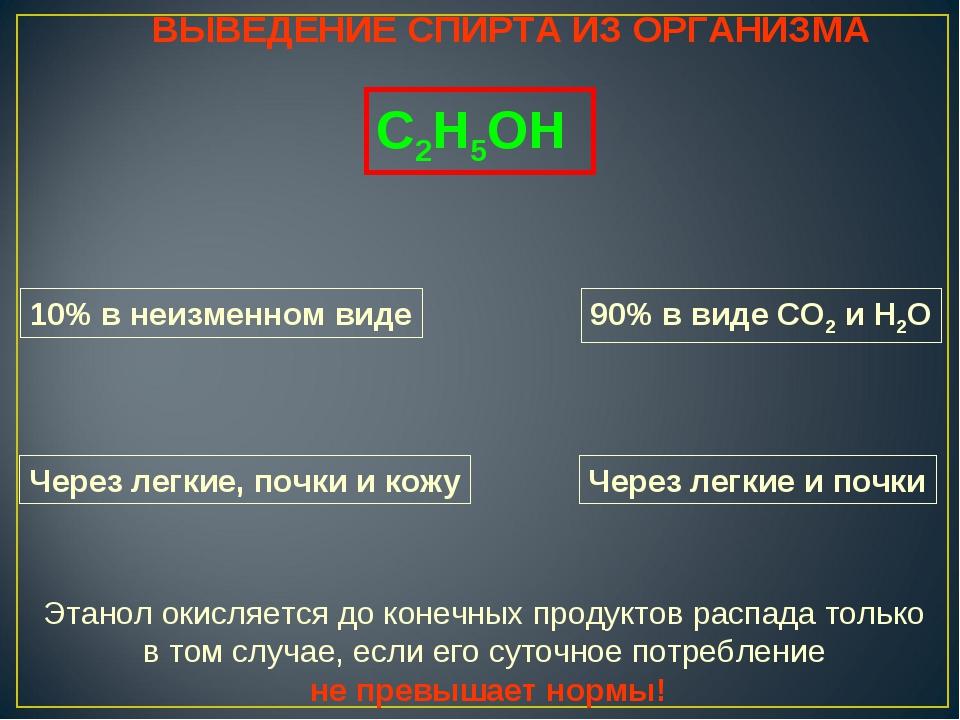ВЫВЕДЕНИЕ СПИРТА ИЗ ОРГАНИЗМА С2Н5ОН 10% в неизменном виде 90% в виде СО2 и Н...