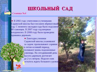 ШКОЛЬНЫЙ САД Стоянка №4 В 2002 году учителями и учениками Садовской школы был