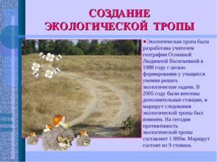 СОЗДАНИЕ ЭКОЛОГИЧЕСКОЙ ТРОПЫ Экологическая тропа была разработана учителем ге