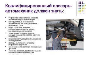 Квалифицированный слесарь-автомеханик должен знать: устройство и технологию р