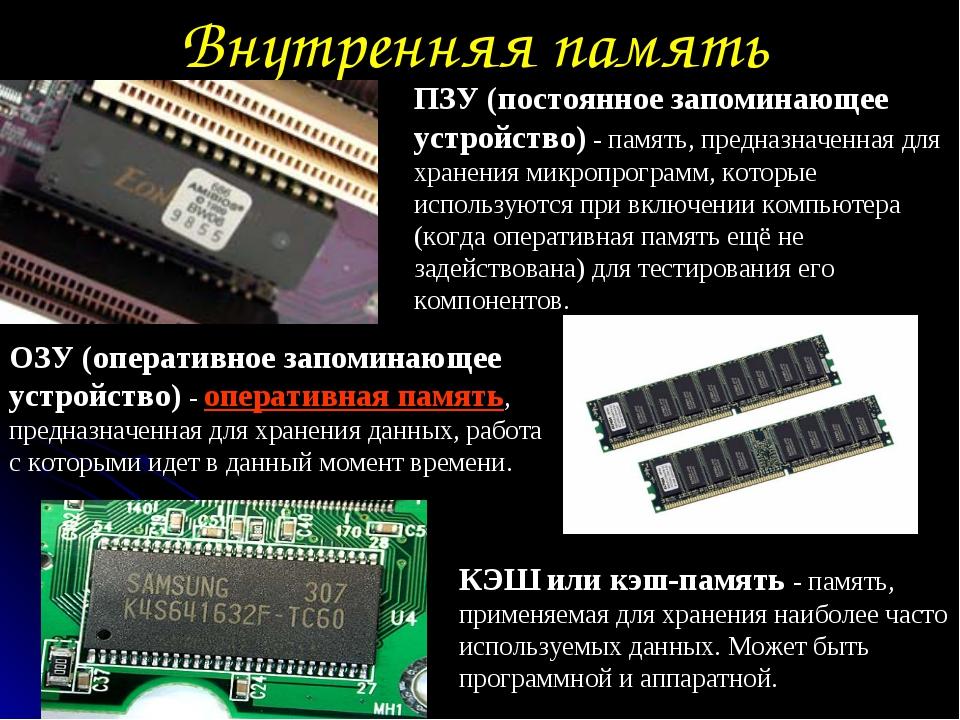 Внутренняя память ОЗУ (оперативное запоминающее устройство) - оперативная пам...