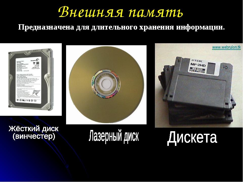 Внешняя память Предназначена для длительного хранения информации.