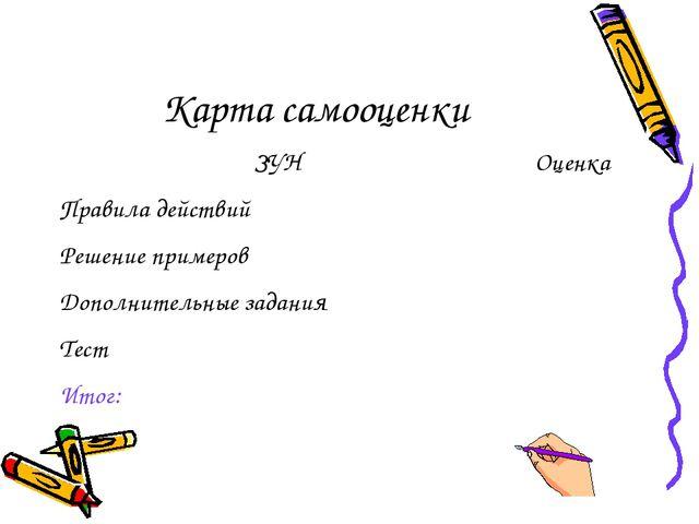 Карта самооценки ЗУНОценка Правила действий  Решение примеров Дополнительн...