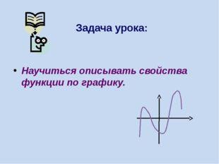 Задача урока: Научиться описывать свойства функции по графику.
