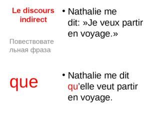 Le discours indirect Nathalie me dit:»Je veux partir en voyage.» Nathalie me