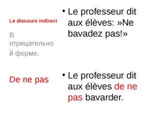 Le discours indirect Le professeur dit aux élèves:»Ne bavadez pas!» Le profe