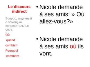 Le discours indirect Nicole demande à ses amis:» Où allez-vous?» Nicole dema