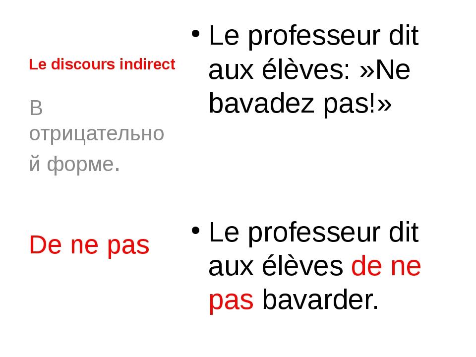 Le discours indirect Le professeur dit aux élèves:»Ne bavadez pas!» Le profe...