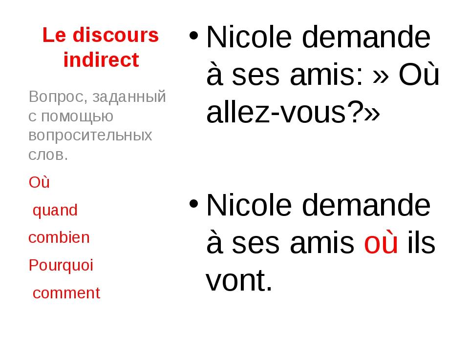 Le discours indirect Nicole demande à ses amis:» Où allez-vous?» Nicole dema...