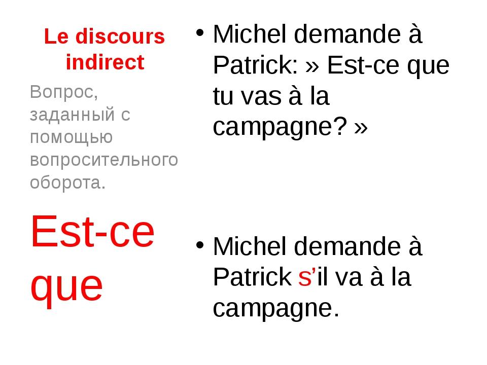 Le discours indirect Michel demande à Patrick:» Est-ce que tu vas à la campa...