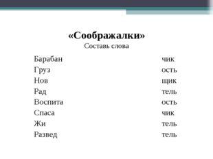 «Соображалки» Составь слова Барабанчик Грузость Новщик Р