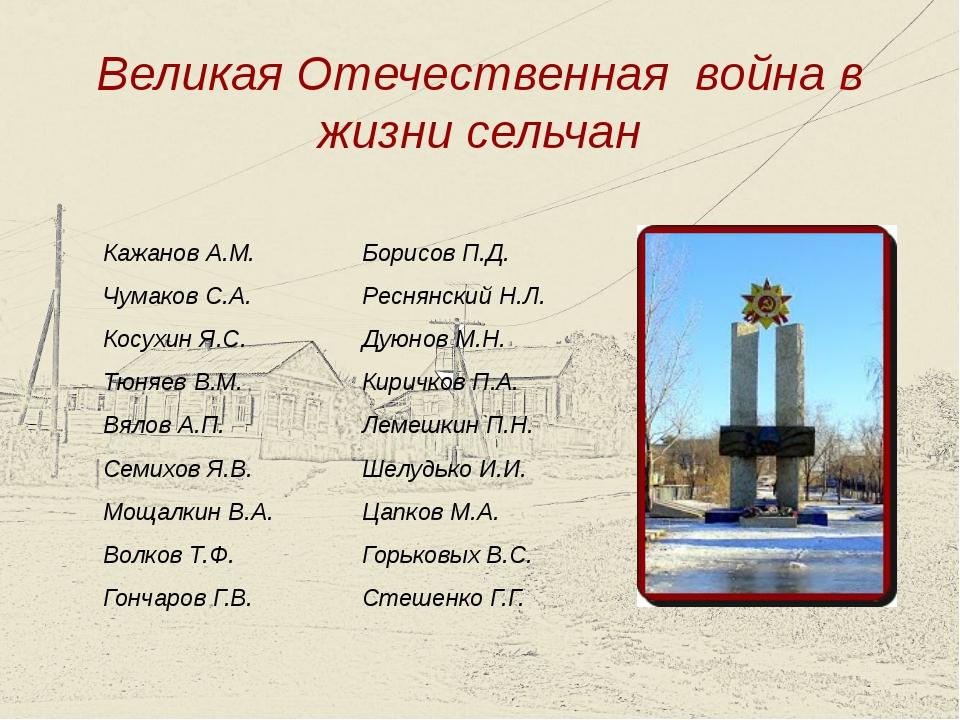 Великая Отечественная война в жизни сельчан Кажанов А.М. Чумаков С.А. Косухин...