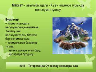 Максат – авылыбыздагы «Күз» чишмәсе турында мәгълүмат туплау Бурычлар: – чишм